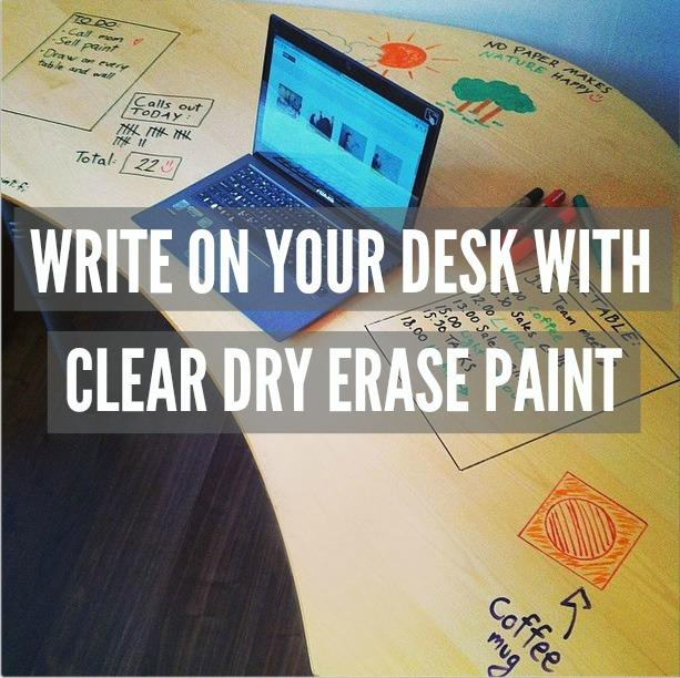 write on your Desk with Clear Dry Erase Paint