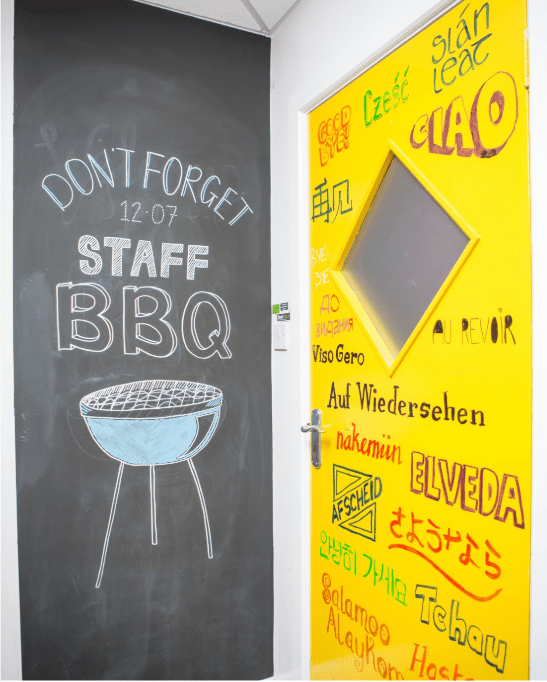 yellow door covered in writing using the Smarter Surfaces Whiteboard Paint Clear