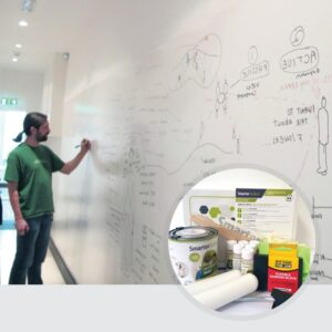 Smart Whiteboard Paint White product in use and kit image