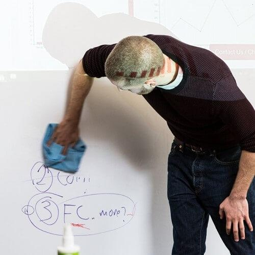 erasing marker on smart whiteboard wallpaper low sheen with projected image