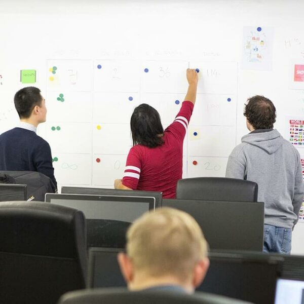 full magnetic wall for meetings made with magnetic plaster