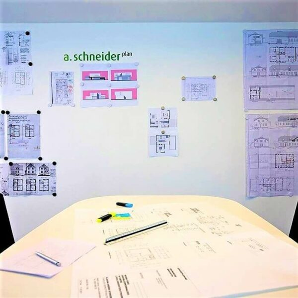 magnetic wall in office created with smart magnetic plaster
