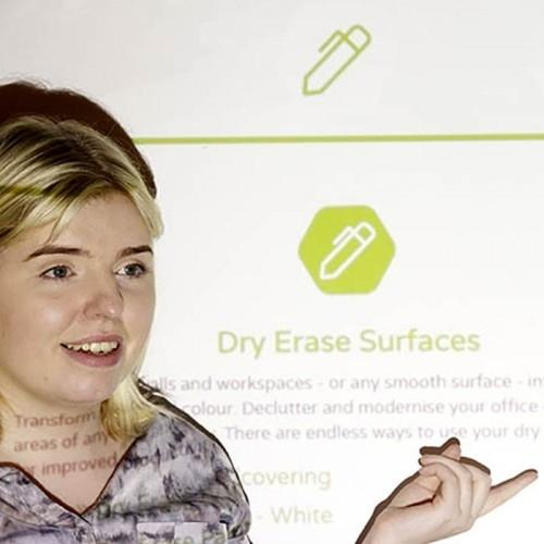 smart projector screen paint pro used during presentation