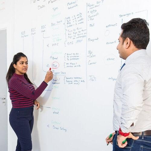 using smart whiteboard wallpaper low sheen during conference