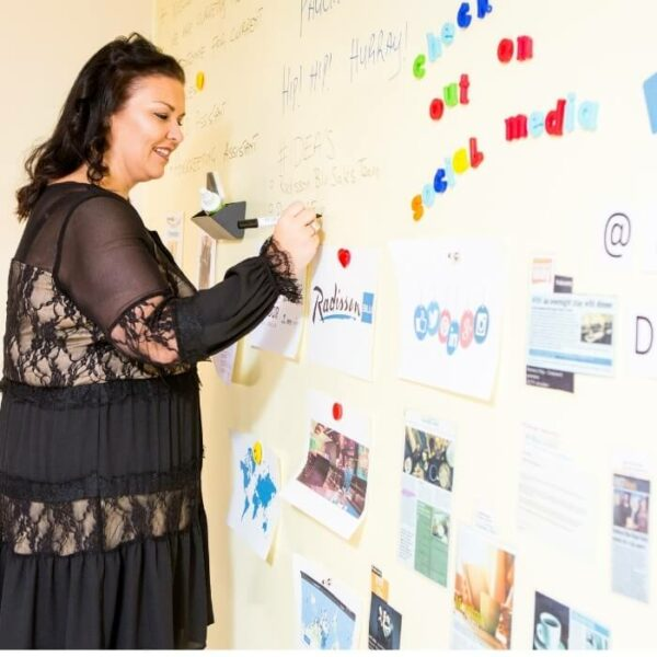product woman writing on magnetic whiteboard wall