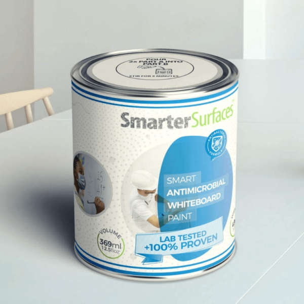 smart antimicrobial whiteboard paint tin upclose