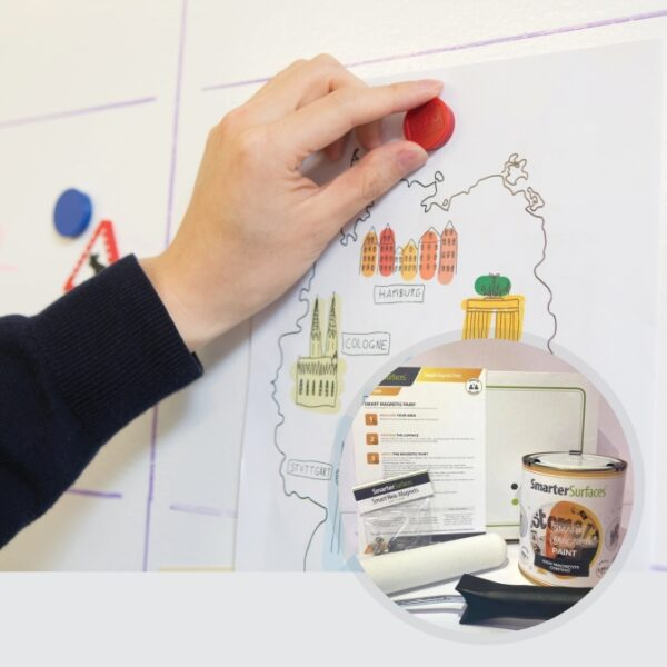 smart magnetic paint in use with kit on display