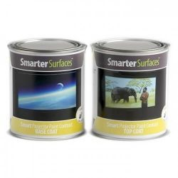 product tins of both part a and part b of smart projector paint contrast